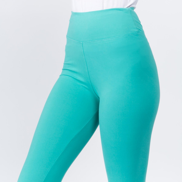 "Women's New Mix Brand 3"" Waistband Solid Peach Skin Leggings.  - 3"" Elastic Waistband - Full-Length - Inseam approximately 28""  - One size fits most 0-14 - 92% Polyester / 8% Spandex"