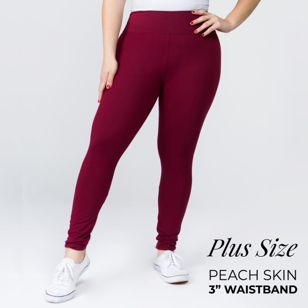 "Women's Plus Size New Mix Brand 3"" Waistband Solid Peach Skin Leggings.  - 3"" Elastic Waistband - Full-Length - Inseam approximately 28""  - One size fits most plus 16-20 - 92% Polyester / 8% Spandex"