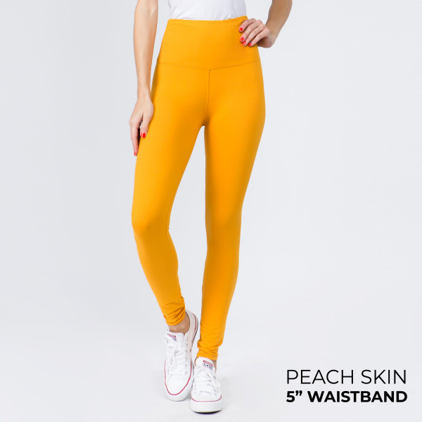 Wholesale women s Mix Brand Solid Peach Skin Leggings Elastic Waistband Full Ins
