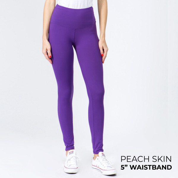 "Women's New Mix Brand Solid Peach Skin Leggings.  - 5"" Elastic Waistband - Full-Length - Inseam approximately 28""  - One size fits most 0-14 - 92% Polyester / 8% Spandex"