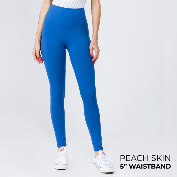 "Women's New Mix Brand 5"" Waistband Solid Peach Skin Leggings.  - 5"" Elastic Waistband - Full-Length - Inseam approximately 28""  - One size fits most 0-14 - 92% Polyester / 8% Spandex"