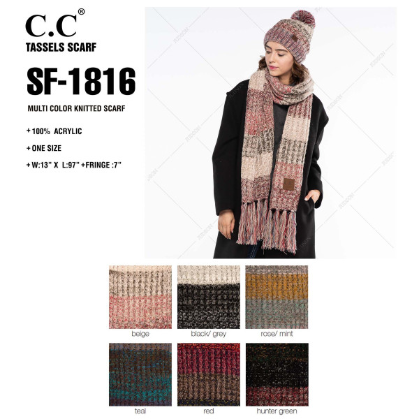 """C.C SF-1816 Multicolor knitted scarf  - 100% Acrylic - One size fits most - W:13"""" X L:97"""" + Fringe:7"""""""