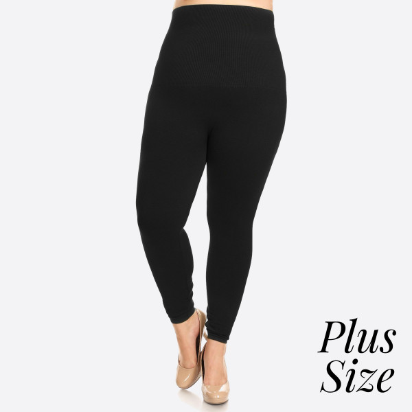 "Women's Plus Size High Waist Cotton Compression Leggings.   - Long, skinny leg design  - Does not ball or pill  - Comfortable and easy pull-on style  - Solid color  - Very Stretchy  - Tummy Control  - Hight Waist  - 8"" Waist Band, 37"" Full Length   - One size fits most 16-22 - 50% Cotton / 45% Polyester / 5% spandex"