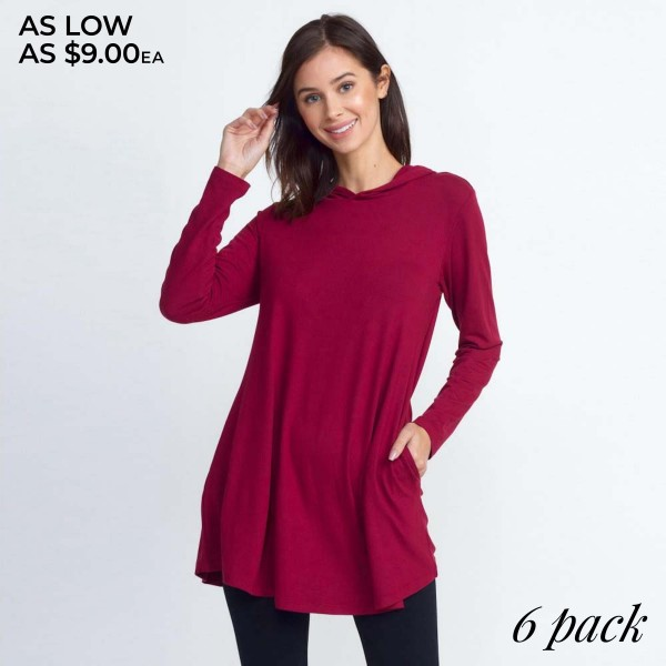 Women's Hooded Long Sleeve Tunic Top Featuring Pockets. (6 PACK)  • Long sleeves, crew neck with hoodie on back • Two functional side pockets • Long scoop hem • Soft and stretchy knit fabric • Imported  - Pack Breakdown: 6 Tops Per Pack - Sizes: 2-S / 2-M / 2-L  - 95% Polyester, 5% Spandex