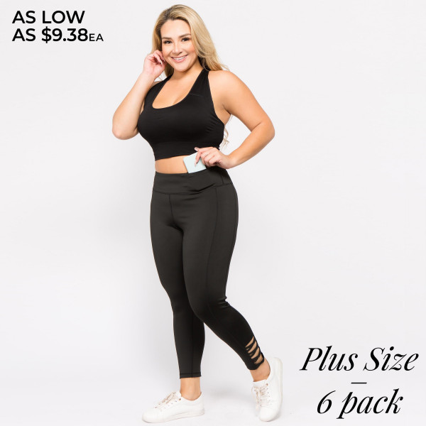 "Women's Plus Size Active Workout Leggings Featuring Lattice Cut Ankle Detail. (6 Pack)  • Reinforced, elastic waistband • High rise style • High quality comfort and stretch fabric • Flat lock seams prevent chafing • Sweat wick fibers draw sweat off your skin for a cool wear • Lightweight • Imported  - Pack Breakdown: 6 Pair Per Pack  - Sizes: 3-XL / 2-XXL / 1-XXXL - Inseam approximately 28"" L - 88% Polyester, 12% Spandex"