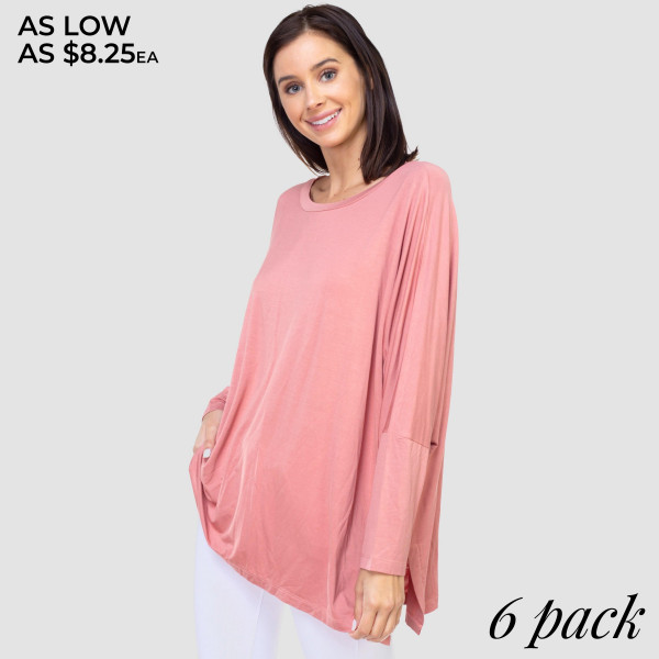 "Women's Oversized Solid Color Tunic Top Featuring Domain Sleeves. (6 PACK)  • Dolman sleeves • Round neck • Side slit accents • Oversized silhouette • Soft, stretchy and lightweight fabric • Imported  - Pack Breakdown: 6pcs/pack - Sizes: 2-S / 2-M / 2-L - Approximately 30"" L  - 97% Rayon / 5% Spandex"