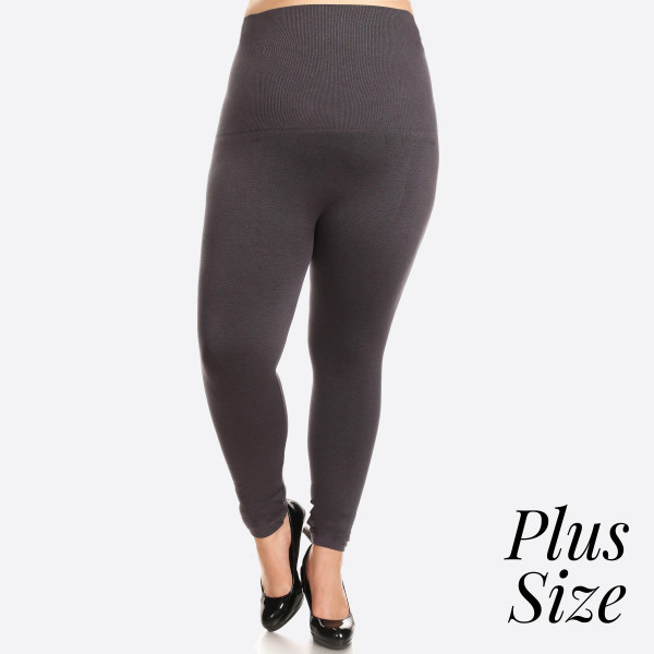 """High Waist Cotton Compression Leggings. Tummy Control for extra hold. These high waist leggings have a compression control top that flattens your tummy and contours your waistline for an hourglass silhouette.   - Long, skinny leg design  - Does not ball or pill  - Comfortable and easy pull-on style  - Solid color  - Very Stretchy  - Tummy Control  - Hight Waist  - 8"""" Waist Band, 37"""" Full Length   One size fits most 16-22.  Content: 50% Cotton, 45% Polyester, 5% spandex"""