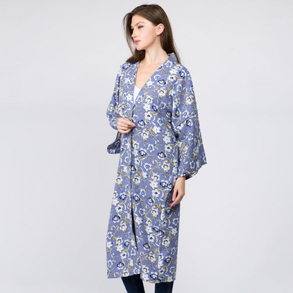 """Women's lightweight floral print kimono.  - One size fits most 0-14 - Approximately 40"""" L - 100% Polyester"""