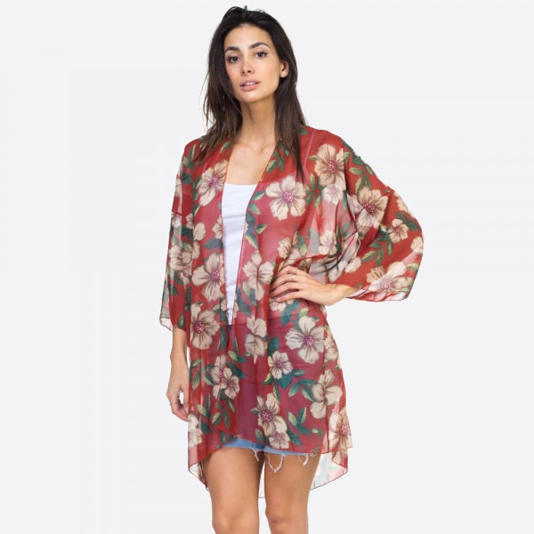 "Women's Lightweight Sheer Tropical Hibiscus Print Kimono.   - One size fits most 0-14 - Approximately 37"" L - 100% Polyester"