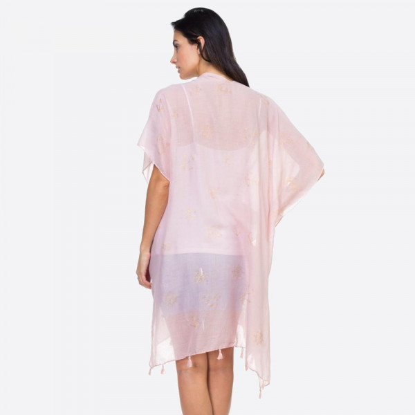 "Women's lightweight sheer glitter anchor kimono.  - One size fits mot 0-14 - Approximately 37"" L - 100% Viscose"