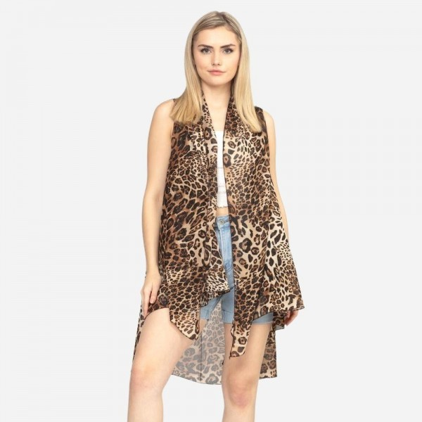 "Women's Lightweight Multi Animal Print Vest.  - One size fits most 0-14 - Approximately 37"" L - 100% Polyester"