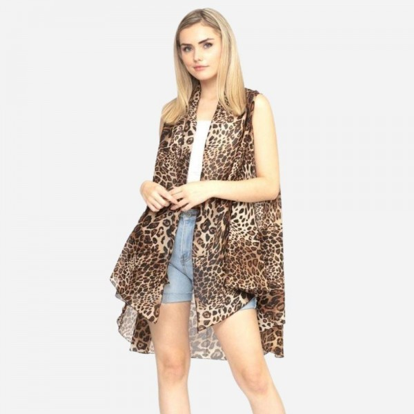 """Women's Lightweight Sheer Multi Animal Print Vest.  - One size fits most 0-14 - Approximately 37"""" L - 100% Polyester"""