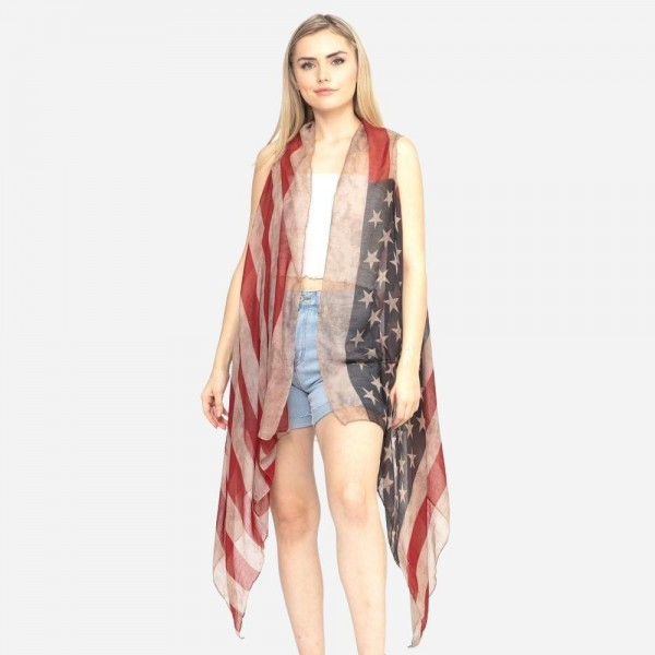 """Women's Lightweight Sheer Vintage American Flag Vest.  - One size fits most 0-14 - Approximately 37"""" L - 100% Polyester"""