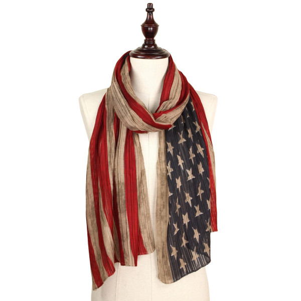 Pleated American flag scarf. 100% polyester.