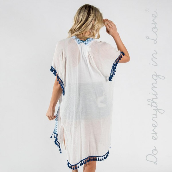 """Do everything in Love brand lightweight checkered and tassel trim long kimono.  - One size fits most 0-14 - Approximately 41"""" L - 100% Viscose"""