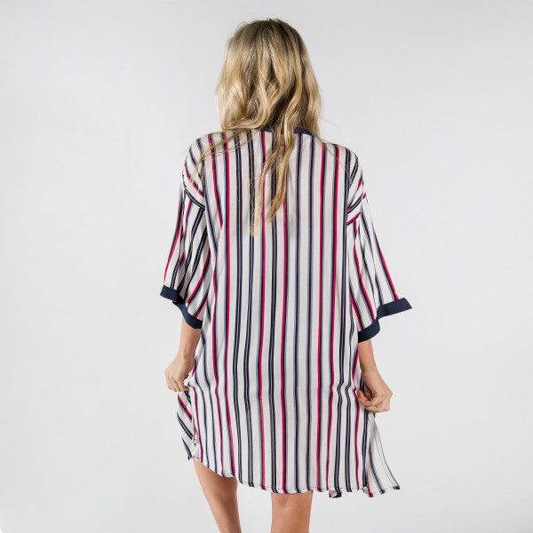 Long stripe kimono. 100% viscose