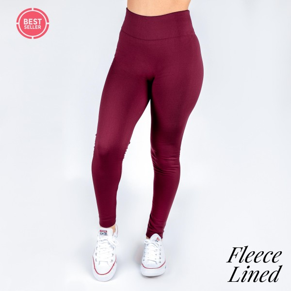Wholesale women s Mix Brand Solid Color Seamless Fleece Lined Leggings Fleece Li