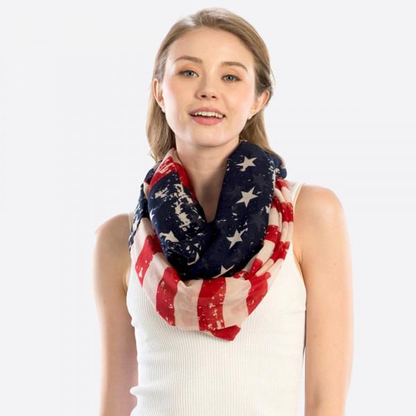 Women's Lightweight USA Infinity Scarf.  - 100% Polyester