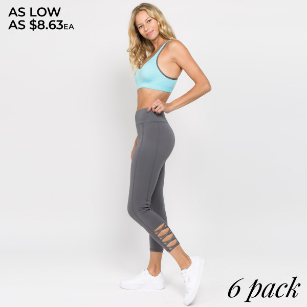 "Women's Active Workout Leggings Featuring Lattice Ankle Detail. (6 Pack)  • Reinforced, elastic waistband • High rise style • High quality comfort and stretch fabric • Flat lock seams prevent chafing • Sweat wick fibers draw sweat off your skin for a cool wear • Lightweight • Imported  - Pack Breakdown: 6 Pair Per Pack - Sizes: 2-S / 2-M / 2-L - Inseam approximately 26"" L - 88% Polyester / 12% Spandex"