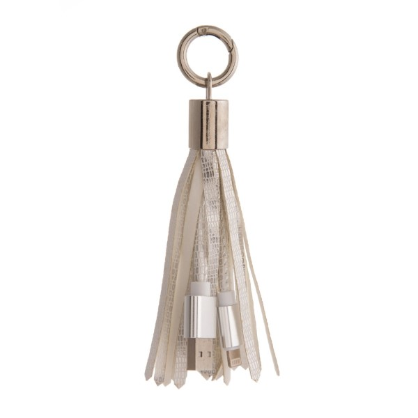 Wholesale portable cell phone charger tassel keychain USB Lightning cable connec
