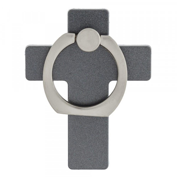 Cross cell phone finger holder with 360 degree rotation on ring stand. Includes a car dashboard hook.
