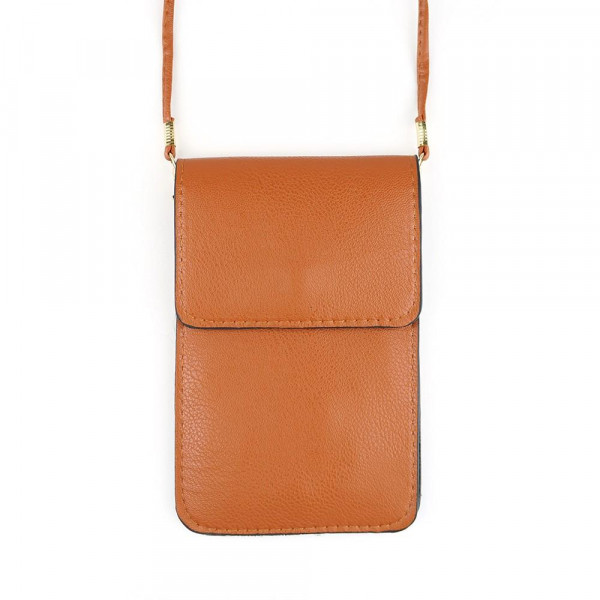 """Faux Leather Cell Phone Crossbody.  - One Inside Pocket - Clear Back Pocket - Flap Button Closure - Strap 24"""" L - Approximately 4""""T x 3"""" W - 100% PU"""