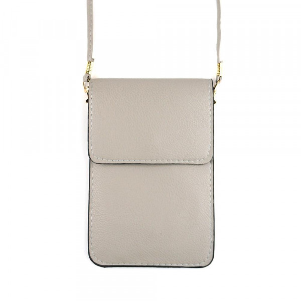 "Solid color faux leather cellphone crossbody/wallet with clear window pocket.  - Approximately 4.5"" W x 6.5"" T - 100% PU"