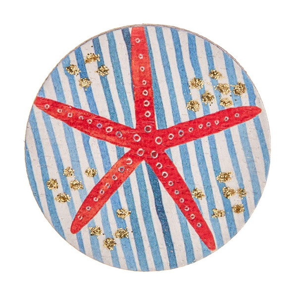 "Accessorize your phone grip with this wood decorative peel and stick charm featuring stripes and starfish details and glitter accents. Approximately 1.5"" in diameter. Fashion charms can also be used for the following:  - Laptops - Refrigerator Magnets - On DIY Home Projects - Car Dashboard - And anywhere you can Imagine"