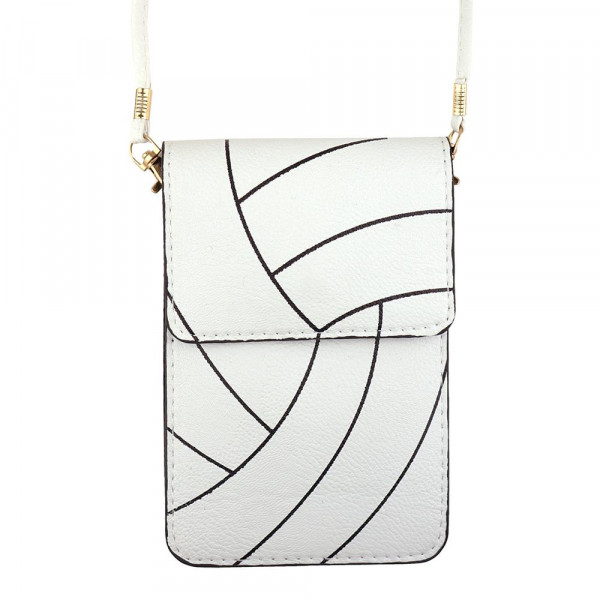 "Faux leather cross body bag featuring a volleyball print with inside pockets, a clear back and snap closure. Includes a 25"" attachable strap. Approximately 7"" x 4"" in size. Approximately 31"" in length overall."