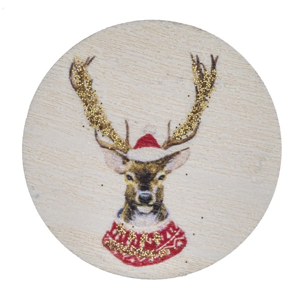 "Accessorize your phone grip with this wooden Christmas reindeer decorative peel and stick charm. Approximately 1.5"" in diameter. Fashion charms can also be used for the following:  - Laptops - Refrigerator Magnets - On DIY Home Projects - Car Dashboard - And anywhere you can Imagine"