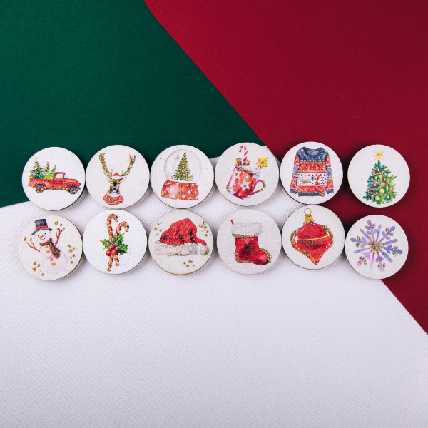 "Accessorize your phone grip with this wooden Christmas sweater decorative peel and stick charm. Approximately 1.5"" in diameter. Fashion charms can also be used for the following:  - Laptops - Refrigerator Magnets - On DIY Home Projects - Car Dashboard - And anywhere you can Imagine"