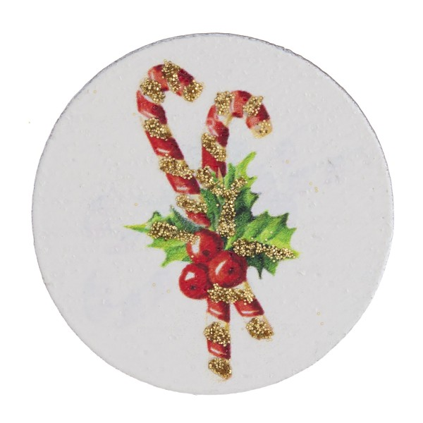 "Accessorize your phone grip with this wooden Christmas candy cane decorative peel and stick charm. Approximately 1.5"" in diameter. Fashion charms can also be used for the following:  - Laptops - Refrigerator Magnets - On DIY Home Projects - Car Dashboard - And anywhere you can Imagine"