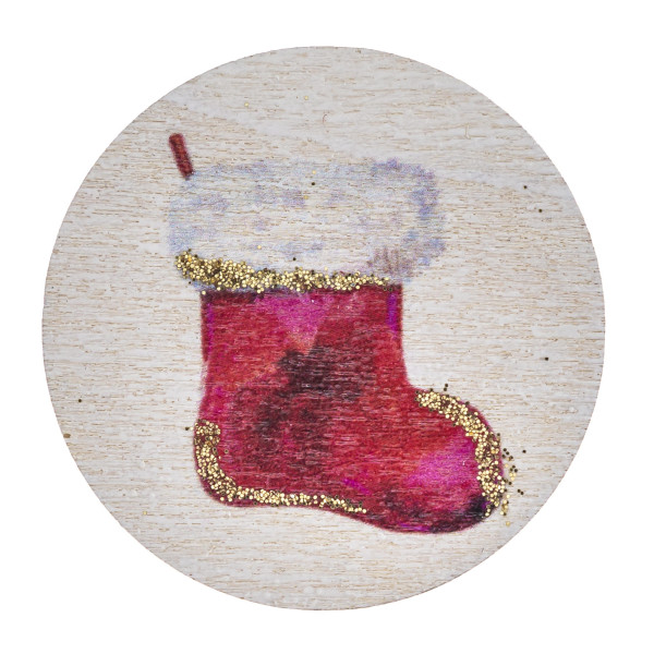 "Accessorize your phone grip with this wooden Christmas stocking decorative peel and stick charm. Approximately 1.5"" in diameter. Fashion charms can also be used for the following:  - Laptops - Refrigerator Magnets - On DIY Home Projects - Car Dashboard - And anywhere you can Imagine"