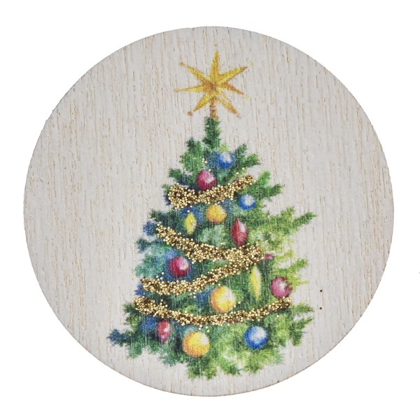 "Accessorize your phone grip with this wooden Christmas tree decorative peel and stick charm. Approximately 1.5"" in diameter. Fashion charms can also be used for the following:  - Laptops - Refrigerator Magnets - On DIY Home Projects - Car Dashboard - And anywhere you can Imagine"