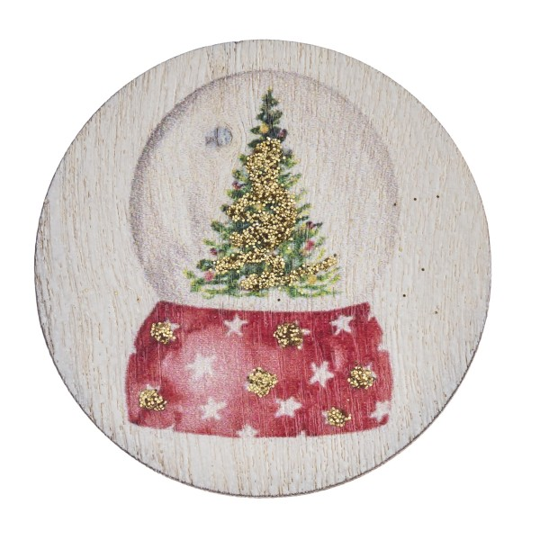 "Accessorize your phone grip with this wooden Christmas snowglobe decorative peel and stick charm. Approximately 1.5"" in diameter. Fashion charms can also be used for the following:  - Laptops - Refrigerator Magnets - On DIY Home Projects - Car Dashboard - And anywhere you can Imagine"