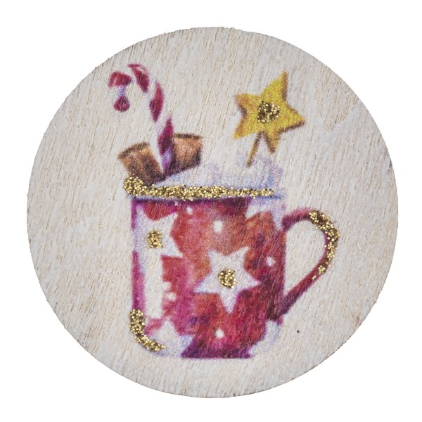 "Accessorize your phone grip with this wooden Christmas hot chocalote decorative peel and stick charm. Approximately 1.5"" in diameter. Fashion charms can also be used for the following:  - Laptops - Refrigerator Magnets - On DIY Home Projects - Car Dashboard - And anywhere you can Imagine"