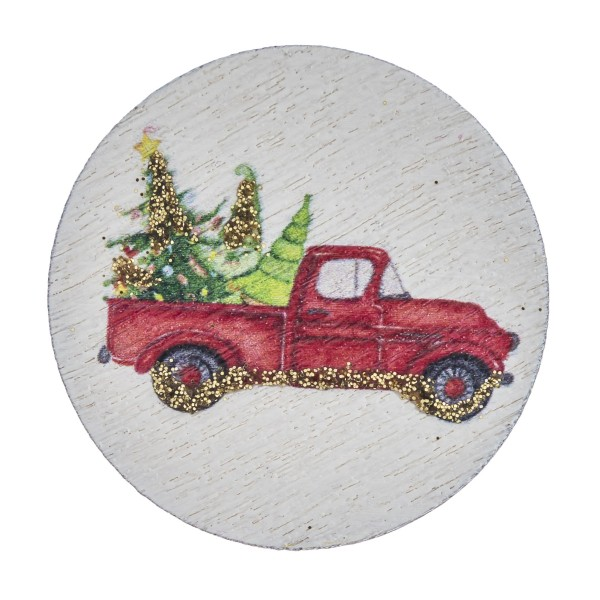 "Accessorize your phone grip with this wooden Christmas truck decorative peel and stick charm. Approximately 1.5"" in diameter. Fashion charms can also be used for the following:  - Laptops - Refrigerator Magnets - On DIY Home Projects - Car Dashboard - And anywhere you can Imagine"