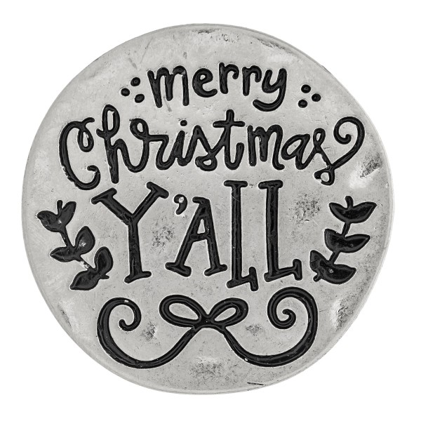 "Accessorize your phone grip with this metal Christmas decorative peel and stick charm featuring ""Merry Christmas Y'all"" engraved details. Approximately 1.5"" in diameter. Fashion charms can also be used for the following:  - Laptops - Refrigerator Magnets - On DIY Home Projects - Car Dashboard - And anywhere you can Imagine"