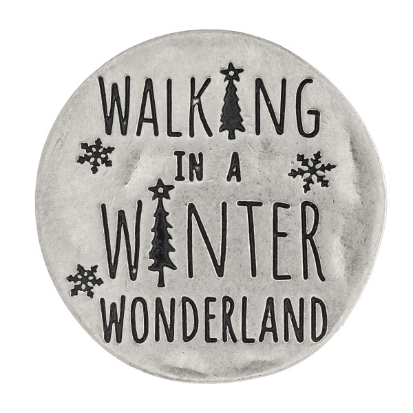 "Accessorize your phone grip with this metal Christmas decorative peel and stick charm featuring ""Walking in a Winter Wonderland"" engraved details. Approximately 1.5"" in diameter. Fashion charms can also be used for the following:  - Laptops - Refrigerator Magnets - On DIY Home Projects - Car Dashboard - And anywhere you can Imagine"