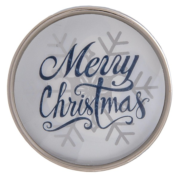"Self adhesive silver Merry Christmas snowflake dome cell phone grip and stand.  - Approximately 1.5"" in diameter"