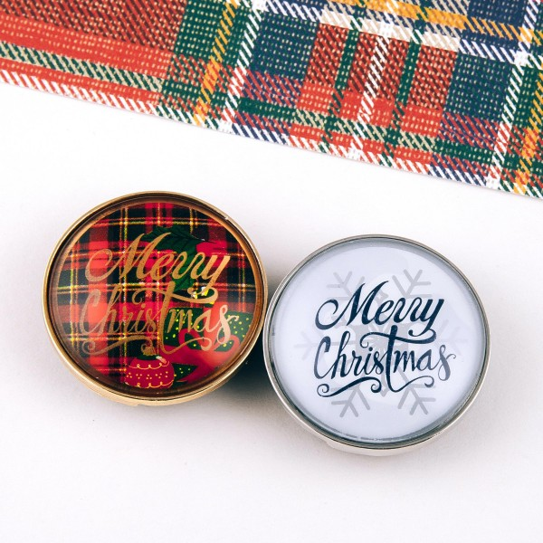 "Self adhesive gold Merry Christmas red plaid dome cell phone grip and stand.  - Approximately 1.5"" in diameter"