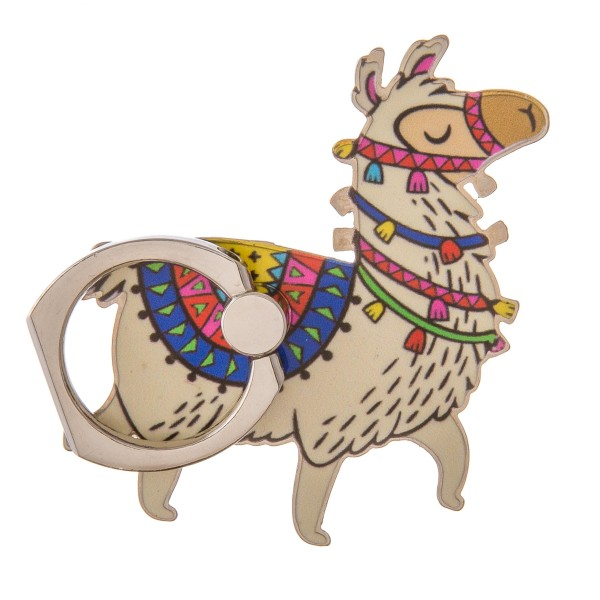 "Enamel coated festive llama self adhesive cell phone peel and stick charm finger grip.  - Safe and secure grip ring with kickstand - Rotates 360 and swivels 180 - Universal smartphone mount - Approximately 2.5"" in size"