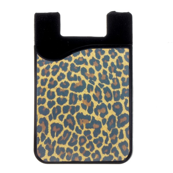 "Leopard Print printed Peel and Stick card holder phone caddy.  - Approximately 2.25"" W x 3.5"" T"