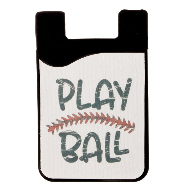 "Distressed ""Play Ball"" baseball printed Peel and Stick card holder phone caddy.  - Approximately 2.25"" W x 3.5"" T"