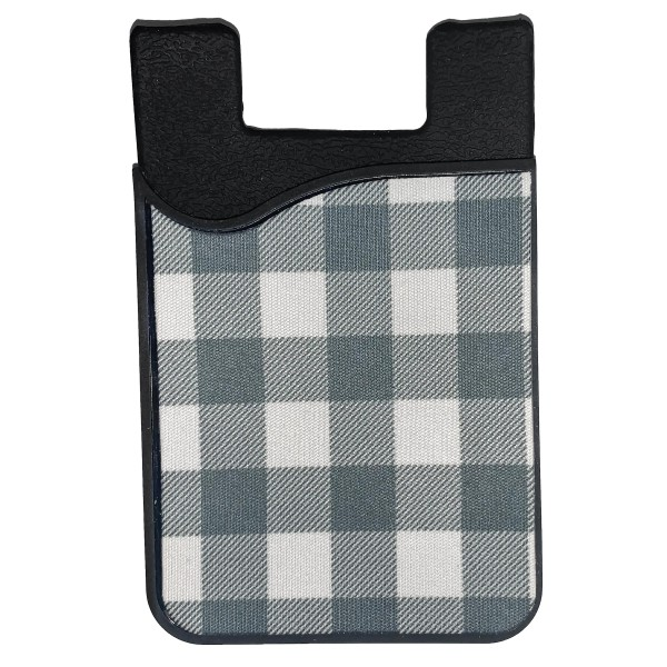 "Plaid Printed Silicone Card Caddy Phone Wallet.  - Holds 2-3 Cards - 3M Self Adhesive Peel & Stick - Universal Fit for Any Phone - Approximately 3"" T x 2"" W"