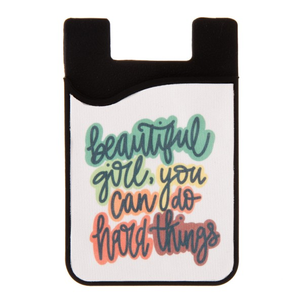 """Beautiful Girl"" Printed Silicone Card Caddy Phone Wallet.  - Holds 2-3 Cards - 3M Self Adhesive Peel & Stick - Universal Fit for Any Phone - Approximately 3"" T x 2"" W"