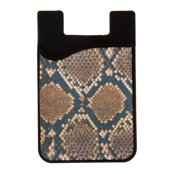 "Snakeskin Printed Silicone Card Caddy Phone Wallet.  - Holds 2-3 Cards - 3M Self Adhesive Peel & Stick - Universal Fit for Any Phone - Approximately 3"" T x 2"" W"
