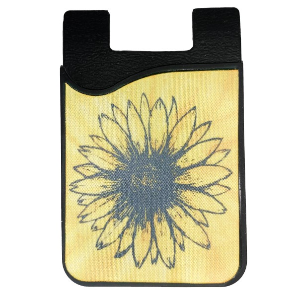 "Sunflower Printed Silicone Card Caddy Phone Wallet.  - Holds 2-3 Cards - 3M Self Adhesive Peel & Stick - Universal Fit for Any Phone - Approximately 3"" T x 2"" W"