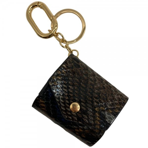 """Faux Leather Snakeskin Earbud Case Cover Keychain Holder.  - Faux Leather Snakeskin Pattern - Snap Closure - Opening for Charger - Approximately 2.5"""" x 2"""""""