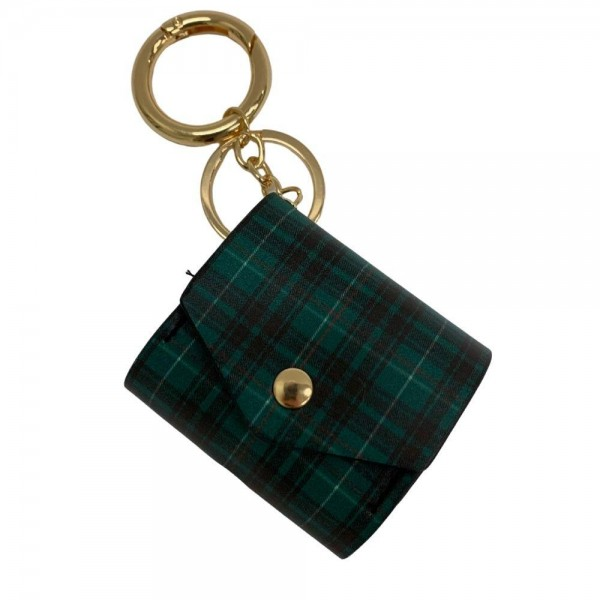 "Faux Leather Plaid Earbud Case Cover Keychain Holder.  - Faux Leather Plaid Pattern - Snap Closure - Opening for Charger - Approximately 2.5"" x 2"""